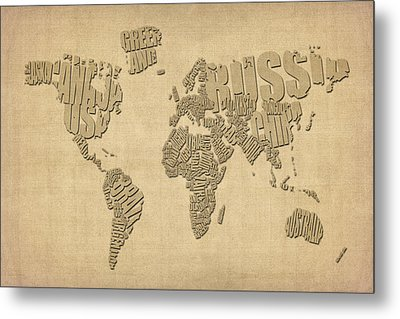 Typographic Text Map Of The World Metal Print by Michael Tompsett
