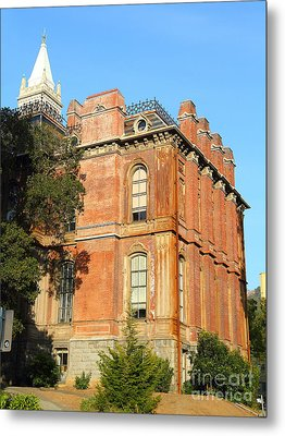 Uc Berkeley . South Hall . Oldest Building At Uc Berkeley . Built 1873 . The Campanile In The Back Metal Print by Wingsdomain Art and Photography