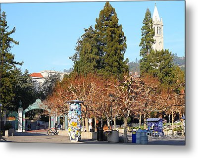 Uc Berkeley . Sproul Plaza . Sather Gate And Campanile Tower . 7d9996 Metal Print by Wingsdomain Art and Photography