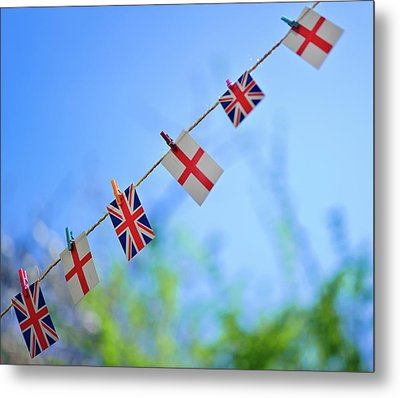 Uk And English Flags On Rope Line Metal Print by Alexandre Fundone