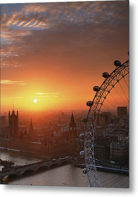 Uk, London, Millennium Wheel And Cityscape, Sunset, Elevated View Metal Print by Travelpix Ltd
