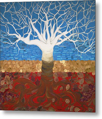 Un Rooted Leaving All Metal Print by Claudia French