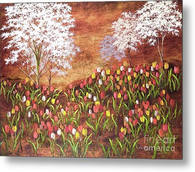 Metal Print featuring the painting Under The Dogwoods by Vic  Mastis