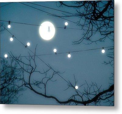 Lights Under The Moonlit Sky Metal Print