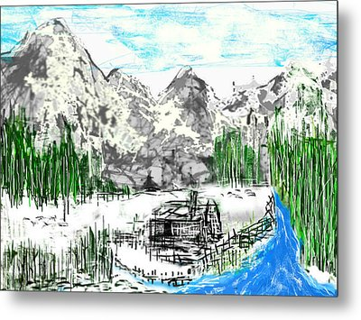 Metal Print featuring the digital art Under The Mountain by Rc Rcd