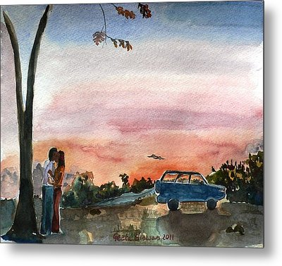 Metal Print featuring the painting Under The Setting Sun by Geeta Biswas