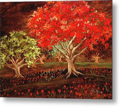 Metal Print featuring the painting Under The Trees by Vic  Mastis