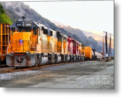 Union Pacific Locomotives Along The Hills Of Martinez California . 7d10563 Metal Print by Wingsdomain Art and Photography