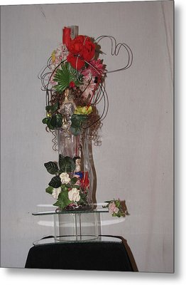 Unique Glass Floral Art Piece Metal Print by HollyWood Creation By linda zanini