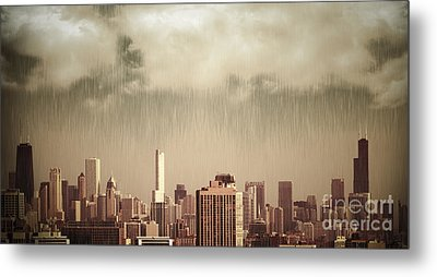 Unique View Of Buildings In Chicago Skyline In The Rain Metal Print