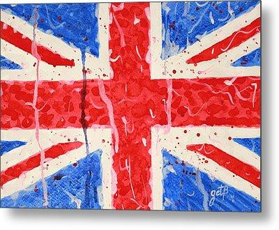 United Kingdom Flag Watercolor Painting Metal Print by Georgeta  Blanaru