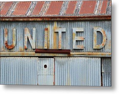 United Rusted Metal Sign Metal Print
