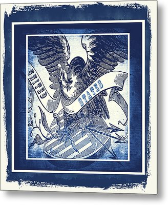 United States Blue Metal Print by Angelina Vick