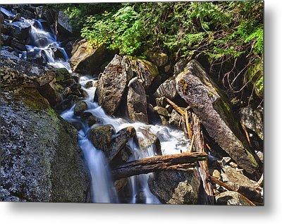 Upper Cascades Of Malchite Creek Metal Print by A A
