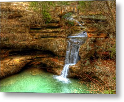Upper Falls From The Top Metal Print by Shirley Tinkham