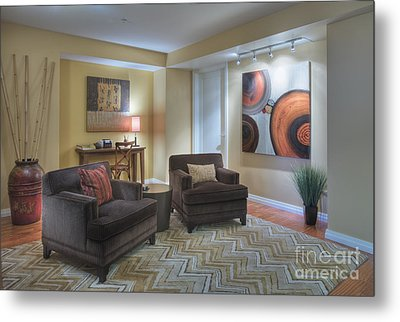 Upscale Living Room Interior Metal Print by Andersen Ross