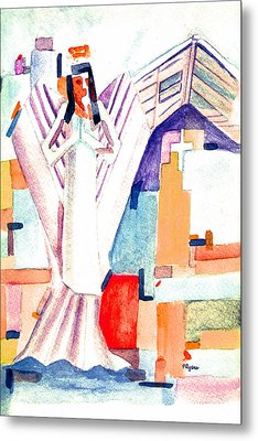 Metal Print featuring the painting Urban Angel Of Light by Paula Ayers