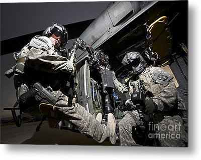 U.s. Air Force Crew Strapped Metal Print by Terry Moore
