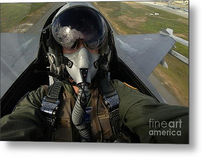 U.s. Air Force Pilot Looking For Nearby Metal Print by Stocktrek Images