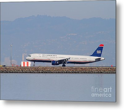 Us Airways Jet Airplane At San Francisco International Airport Sfo . 7d11982 Metal Print by Wingsdomain Art and Photography