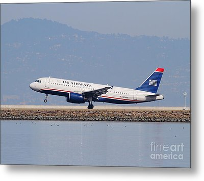 Us Airways Jet Airplane At San Francisco International Airport Sfo . 7d12018 Metal Print by Wingsdomain Art and Photography