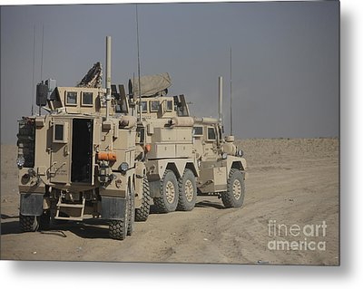 U.s. Army Cougar Mrap Vehicles Metal Print by Terry Moore