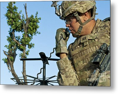 U.s. Army Soldier Calls For Indirect Metal Print by Stocktrek Images