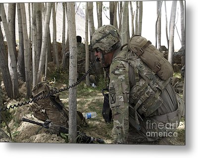 U.s. Army Soldier Communicates Possible Metal Print by Stocktrek Images