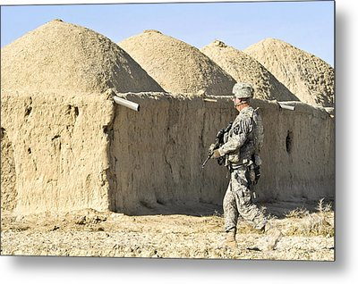U.s. Army Soldier Conducts A Dismounted Metal Print by Stocktrek Images
