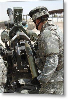 U.s. Army Soldier Loads A 105mm Metal Print by Stocktrek Images