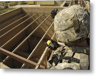 U.s. Army Soldier Takes A Gps Grid Metal Print by Stocktrek Images