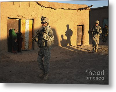 U.s. Army Soldiers Conduct A Dismounted Metal Print