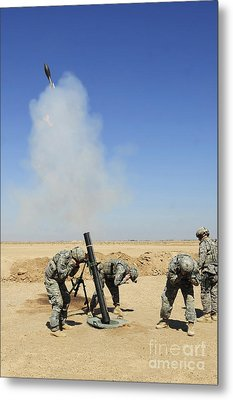 U.s. Army Soldiers Firing An M120 120mm Metal Print by Stocktrek Images