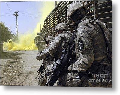 U.s. Army Soldiers Using Smoke Grenades Metal Print by Stocktrek Images