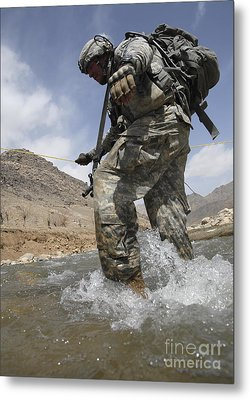 U.s. Army Specialist Crosses A River Metal Print