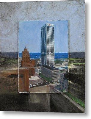 Us Bank Lake Michigan Layered Metal Print by Anita Burgermeister