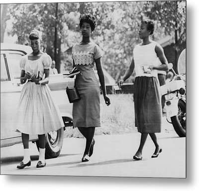 Us Civil Rights. From Left Integrated Metal Print by Everett