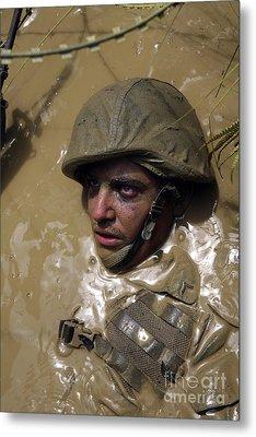 U.s. Marine Advancing Through An Metal Print