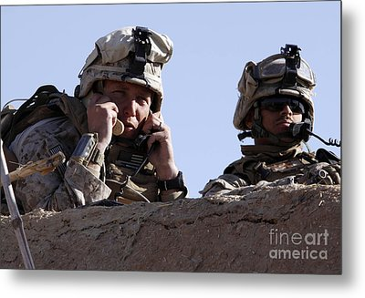 U.s. Marine Gives Directions To Units Metal Print by Stocktrek Images