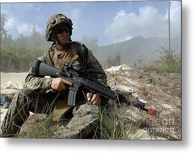 U.s. Marine Takes Part In An Amphibious Metal Print by Stocktrek Images