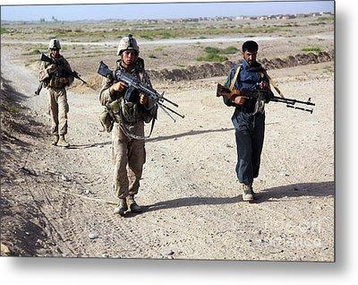 U.s. Marines And Afghan National Police Metal Print by Stocktrek Images