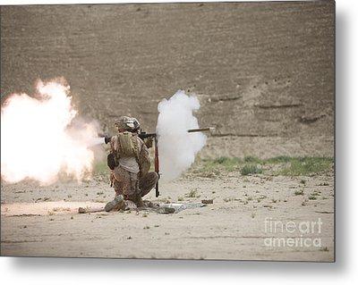 U.s. Marines Fire A Rpg-7 Grenade Metal Print by Terry Moore