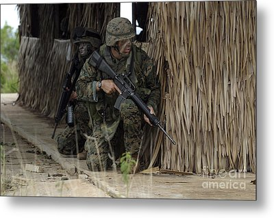 U.s. Marines Prepare To Enter A House Metal Print by Stocktrek Images