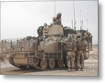 U.s. Marines Talk With A British Metal Print by Stocktrek Images