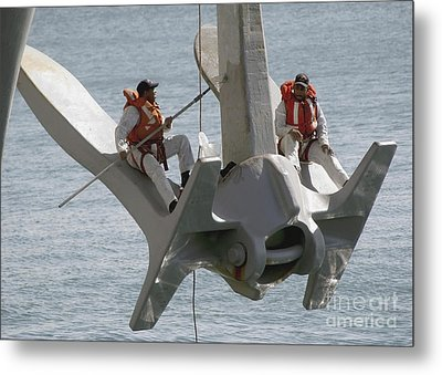 U.s. Navy Servicemen Apply A Coat Metal Print by Stocktrek Images