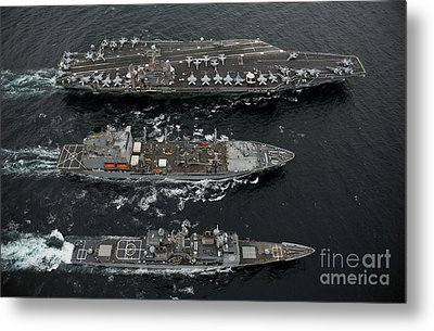 U.s. Navy Ships Conduct A Replenishment Metal Print by Stocktrek Images
