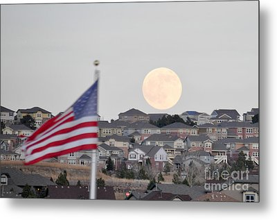 Metal Print featuring the photograph Usa Flag And Moon by Cheryl McClure