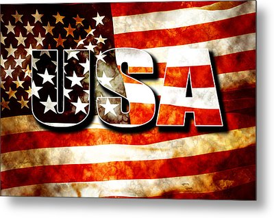 Usa Old Glory Flag Metal Print by Phill Petrovic
