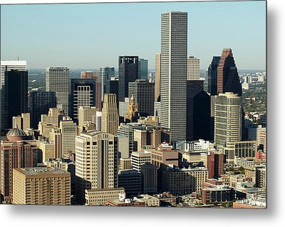 Usa, Texas, Houston, Dwontown, Aerial View Metal Print by George Doyle