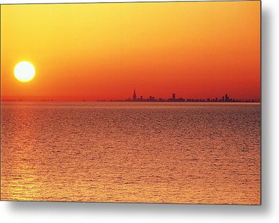 Usa,chicago,lake Michigan,orange Sunset,city Skyline In Distance Metal Print by Frank Cezus